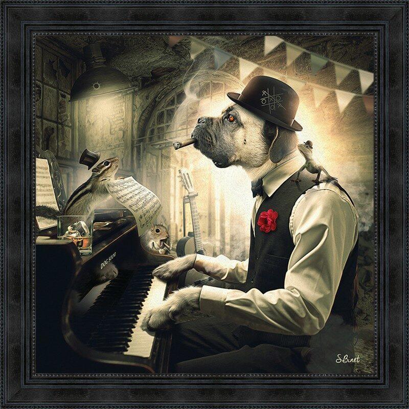 Image encadrée Chien Piano – Sylvain Binet