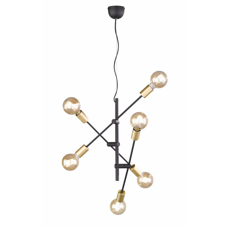 Suspension 6 lumières noire et dorée Cross