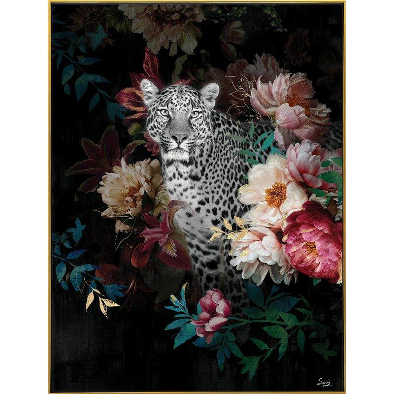 Toile encadrée Guépard fleurs