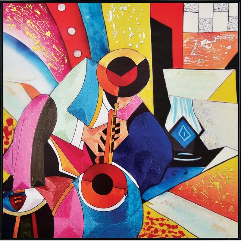 Toile encadrée multicolore Jazz