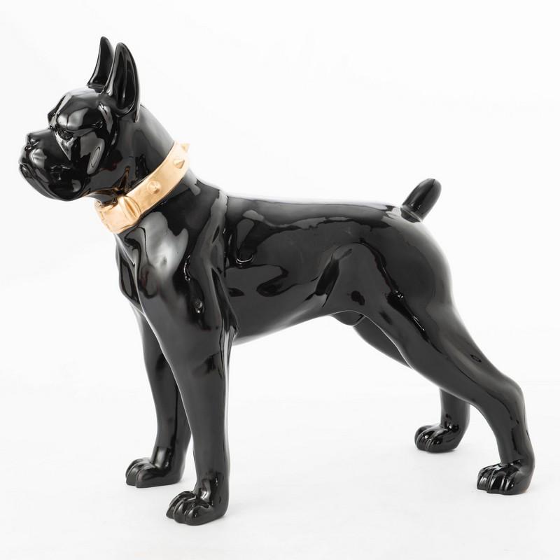 Boxer noir avec collier or