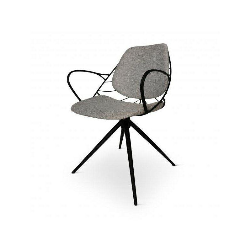 Chaise pivotante Rafael gris clair et noir