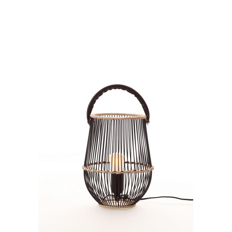 Lampe à poser en bois naturel et cuir