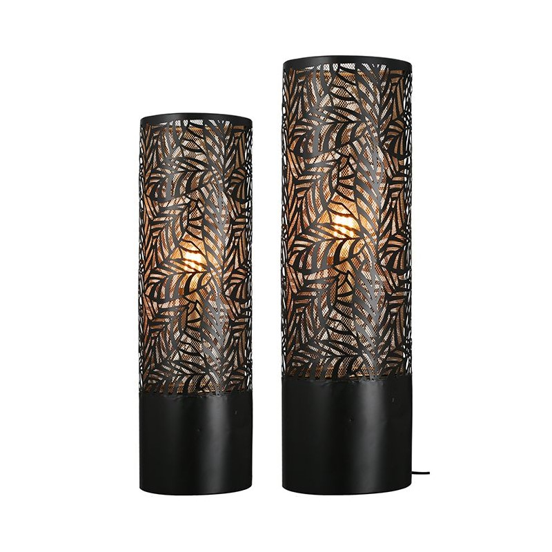 Lampe à poser noire et dorée Nature 63 cm