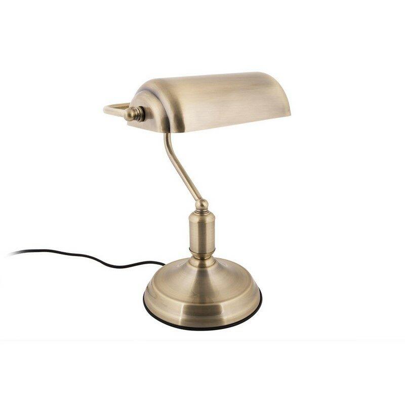 Lampe de banquier dorée brossée