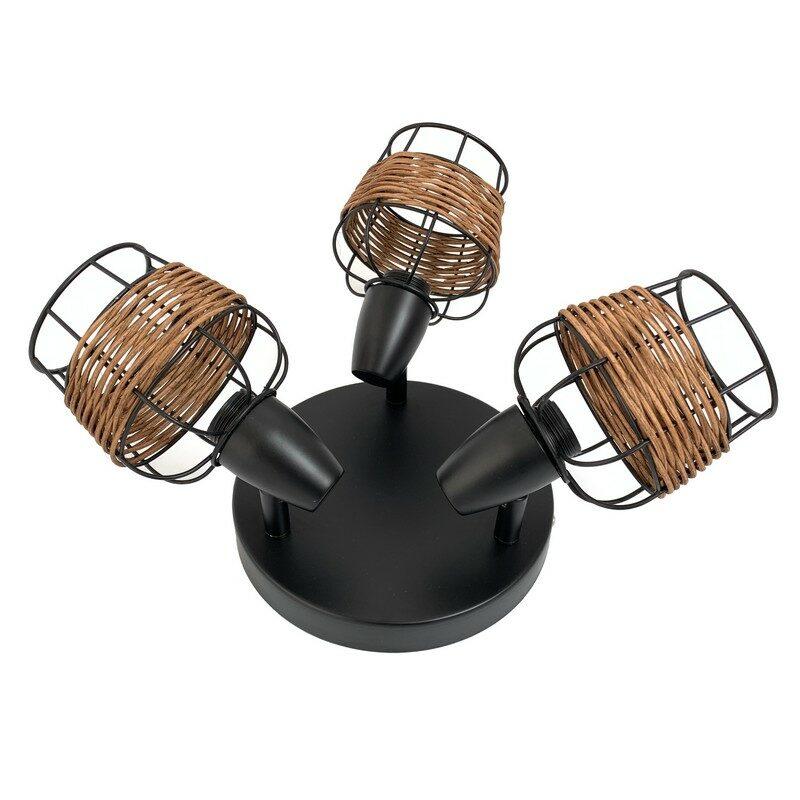 Plafonnier 3 lumières noir et rotin