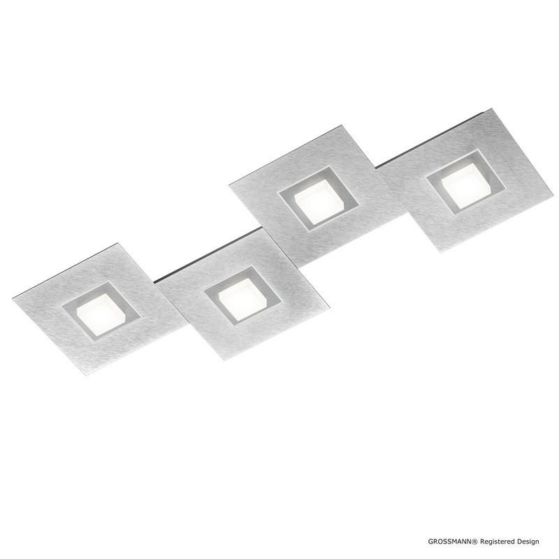 Plafonnier LED aluminium Karree nacré et titan 4 lumières