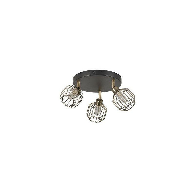 Plafonnier salle de bain Orin 3 lumières noir mat et laiton