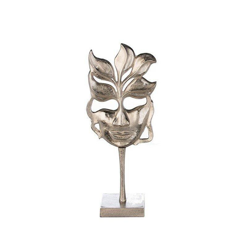 Sculpture visage de femme masqué argent