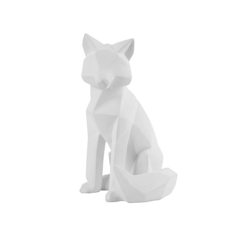 Statue origami Renard blanc mat