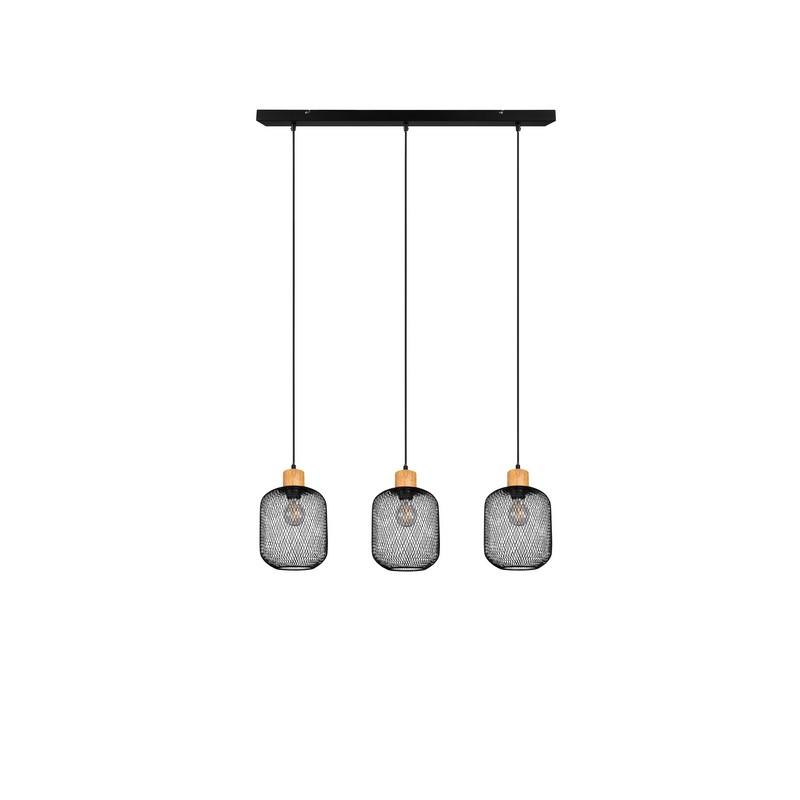 Suspension 3 lumières noir mat Calimero
