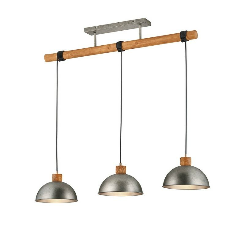 Suspension 3 lumières nickel antique Dehli