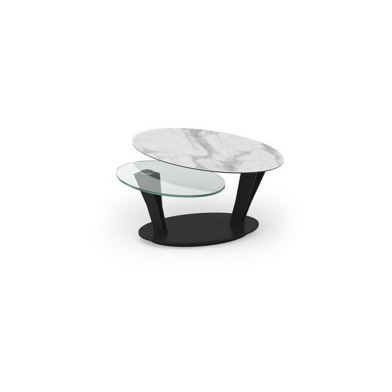 Table basse Ovalia céramique marbre mat