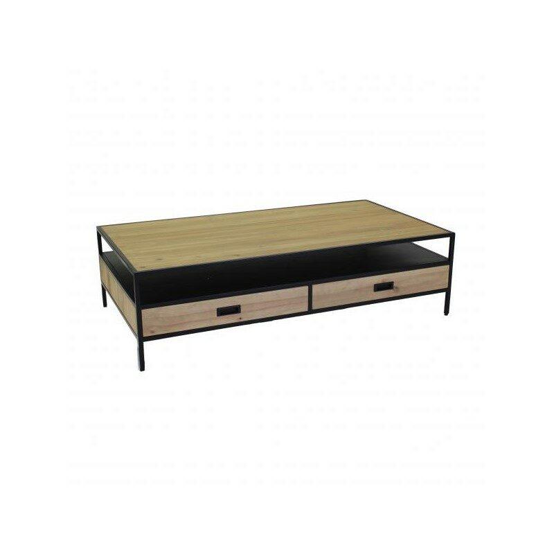 Table de salon Achyl bois et noir