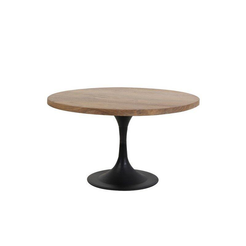 Table de salon ronde en acacia et métal noir Biboca