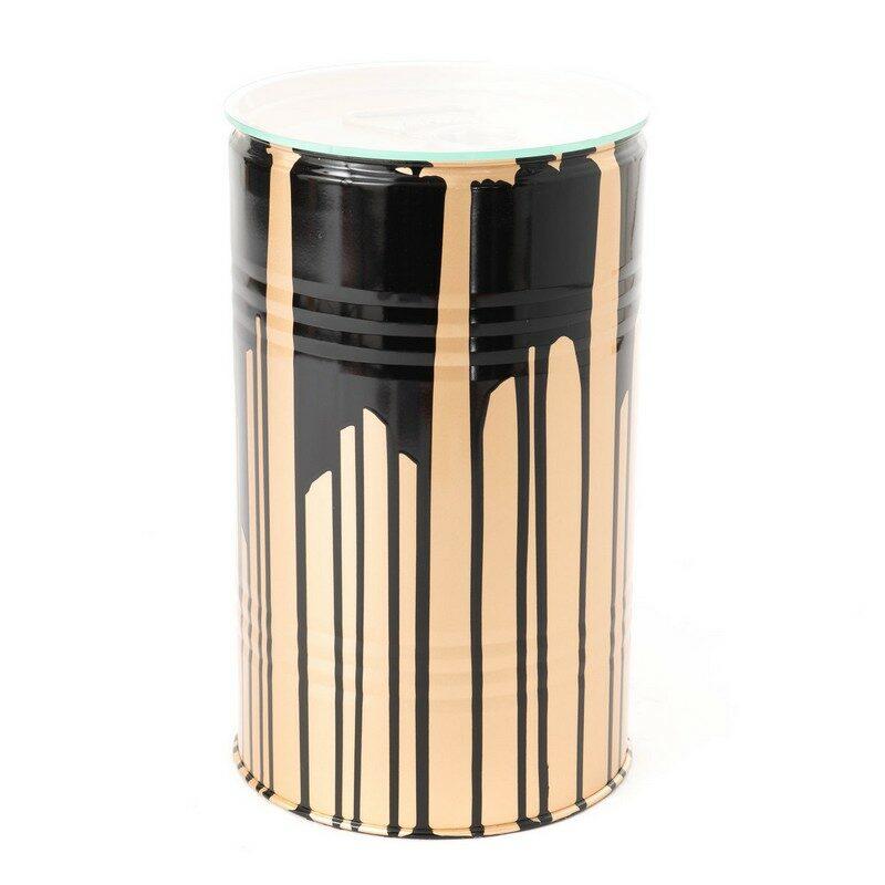 Tonneau trash or et noir 50 cm