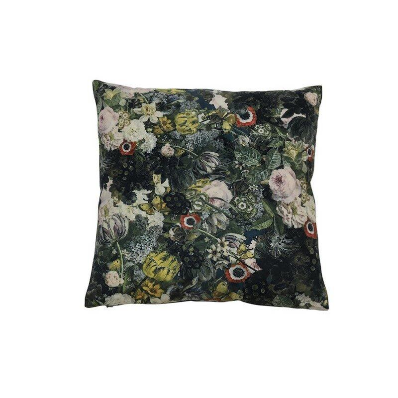 Coussin Blom velours fleurs vert