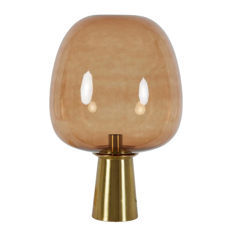 Lampe à poser Maysony bronze verre brun