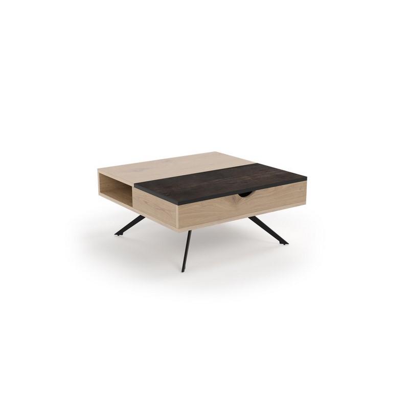 Table basse pivotante Dakota chêne et céramique