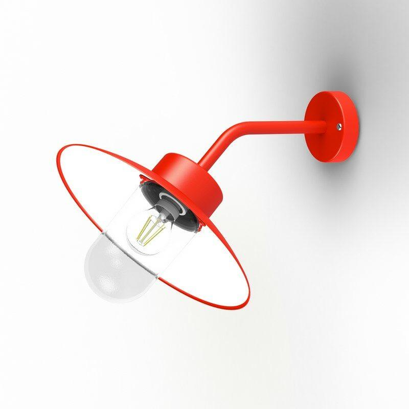 Applique extérieure Belcour 45° rouge signalisation verre clair