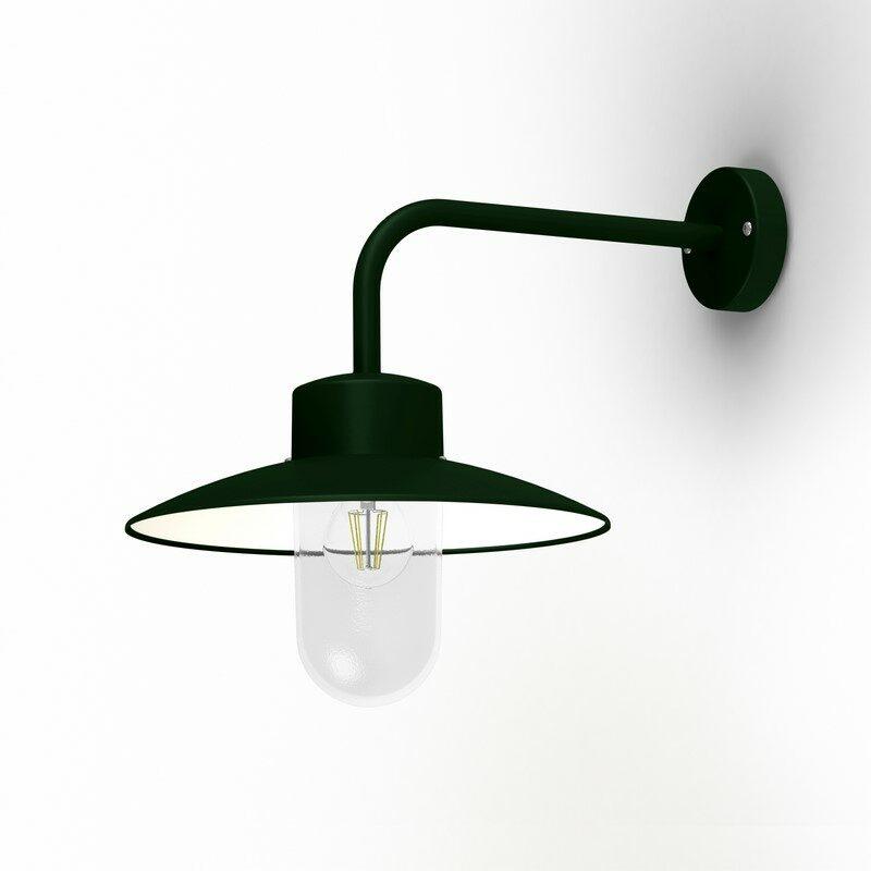 Applique extérieure Belcour 90° vert anglais verre clair