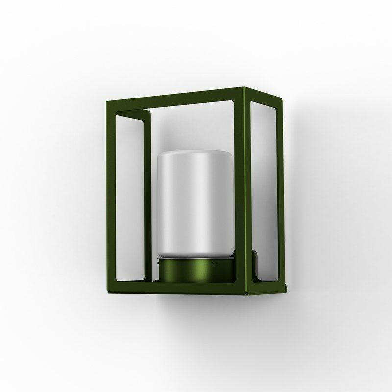 Applique extérieure Hugy vert fougère verre dépoli