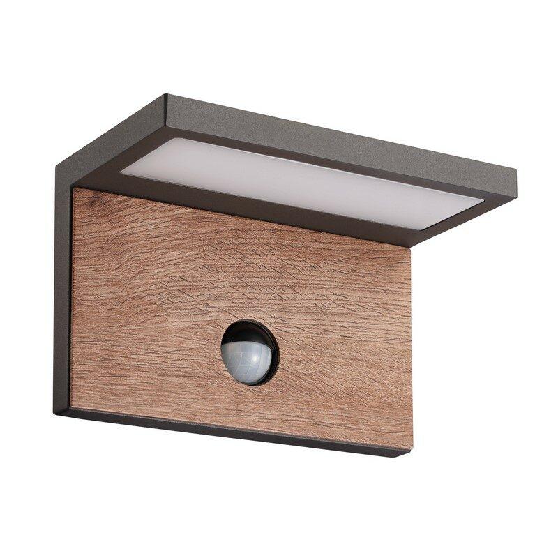 Applique avec détecteur gris foncé et bois Ruka