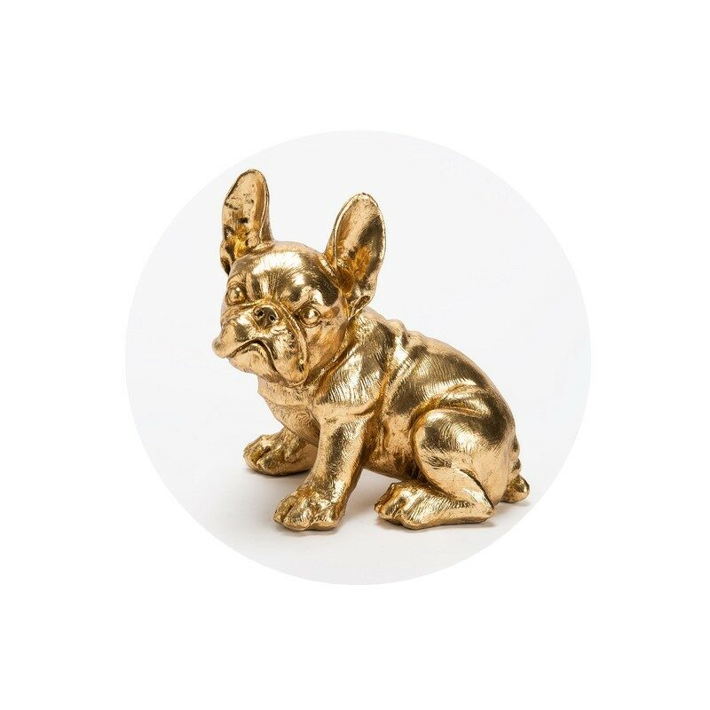 Chien Bulldog assis doré