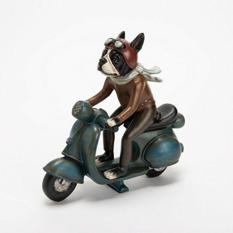 Chien Bulldog mobilette vintage