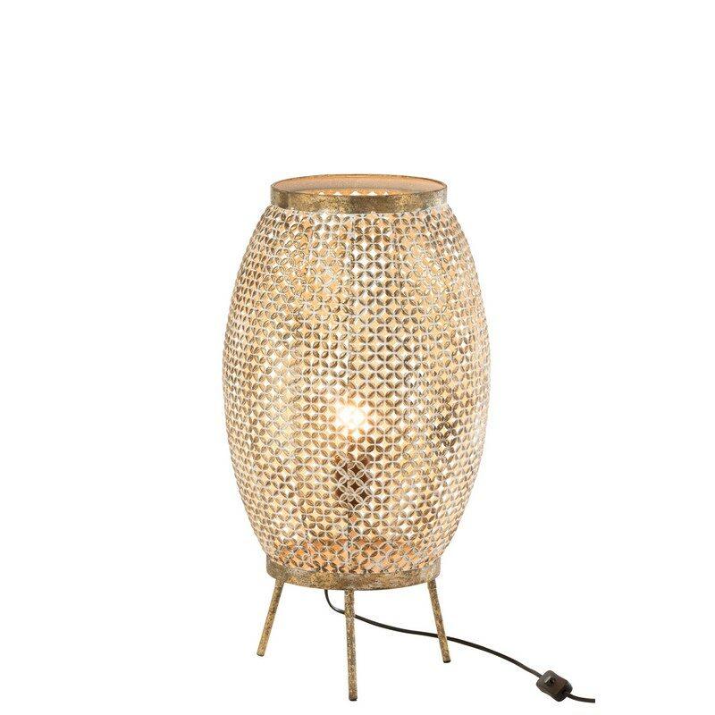 Lampe lanterne Fleur or