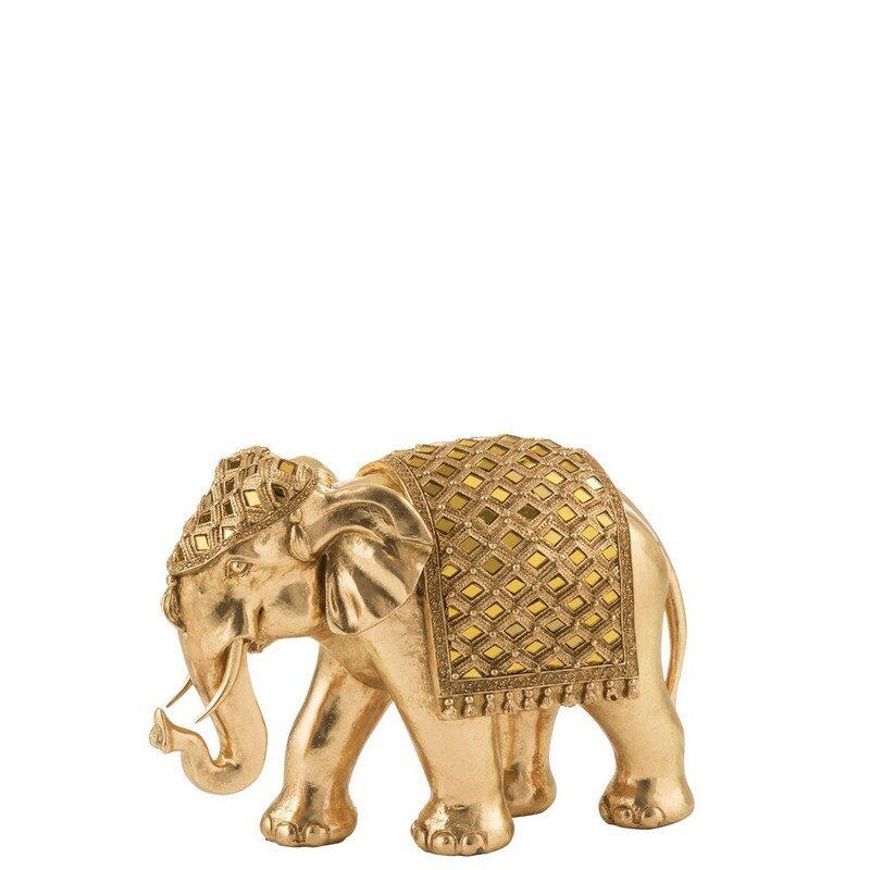 Éléphant miroir or 31 cm