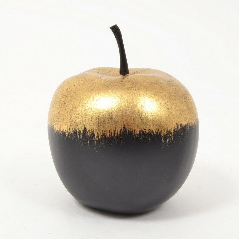 Pomme Goldy noire et or 16 cm