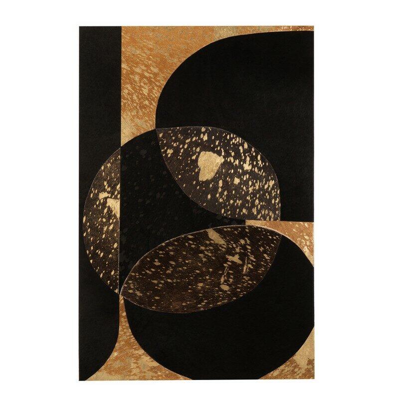 Tableau rectangulaire abstrait noir et or