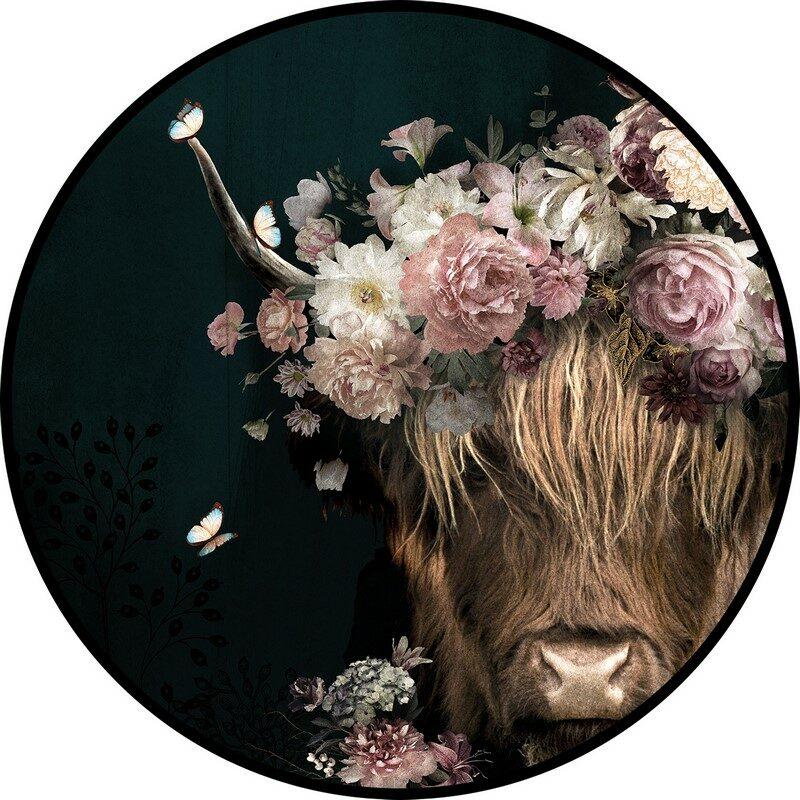 Tableau rond buffle fleur