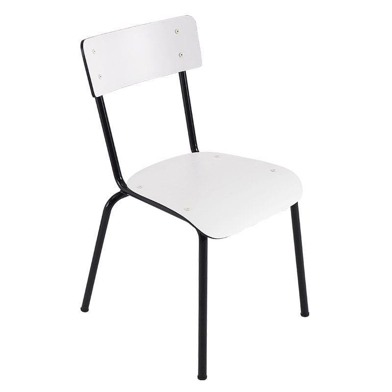 Chaise SUZIE blanche pied noir - profil - LES PETITES GAMBETTES
