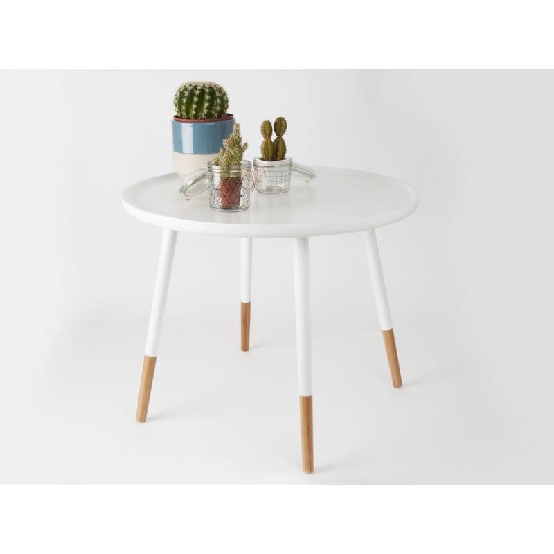 Décor Table basse scandinave GRACEFUL blanche et bois - PRESENT TIME