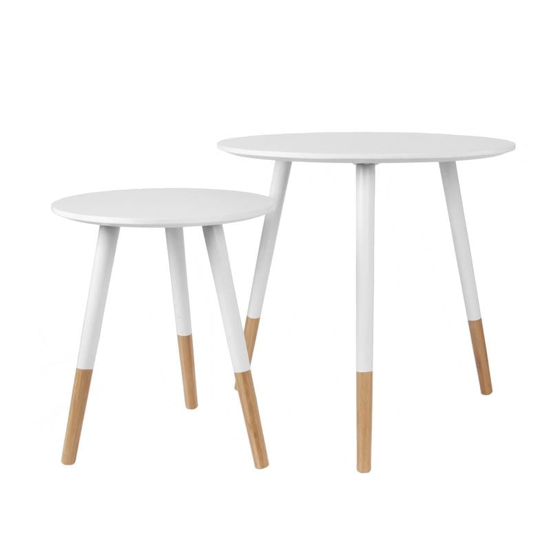 Set de table basse GRACEFUL scandinave blanche et bois - PRESENT TIME