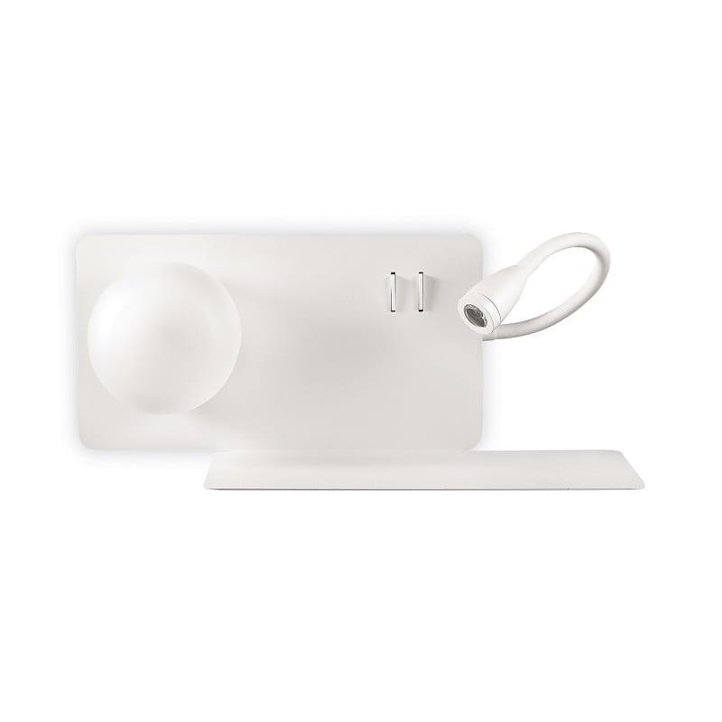 Applique-chevet-blanche-avec-liseuse-et-tablette-prise-usb