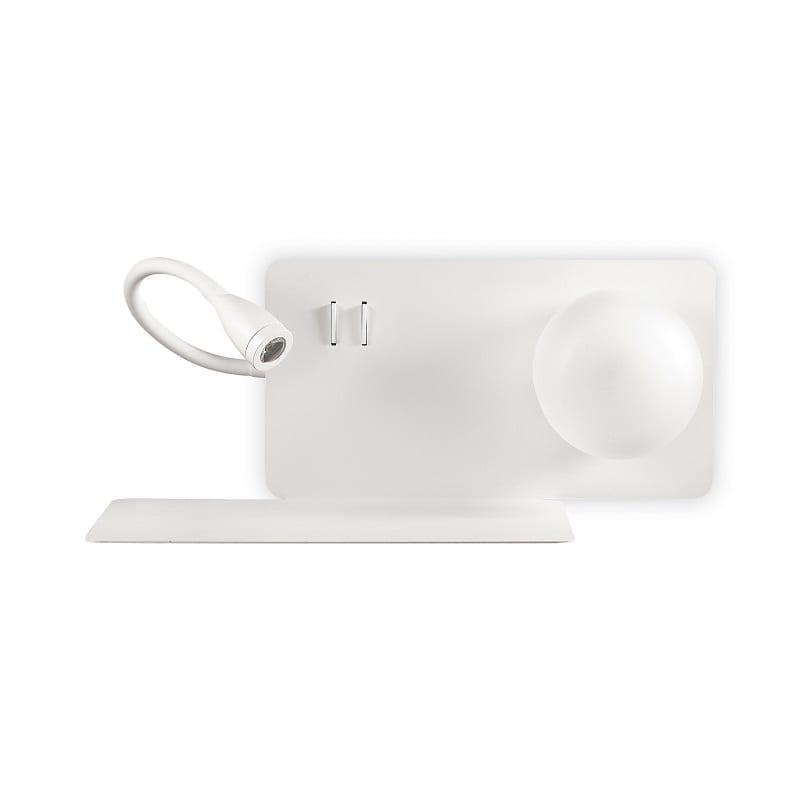 Applique chevet blanche avec liseuse et tablette - 46767 - 174792-A