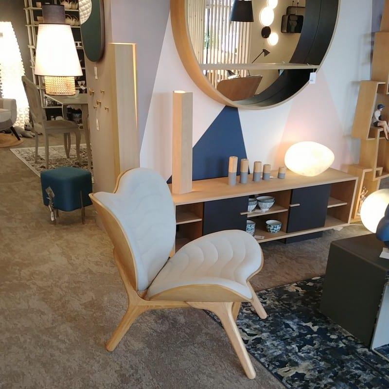 Petit fauteuil confortable A Conversation Piece chêne et gris côté - 46802 - 5506