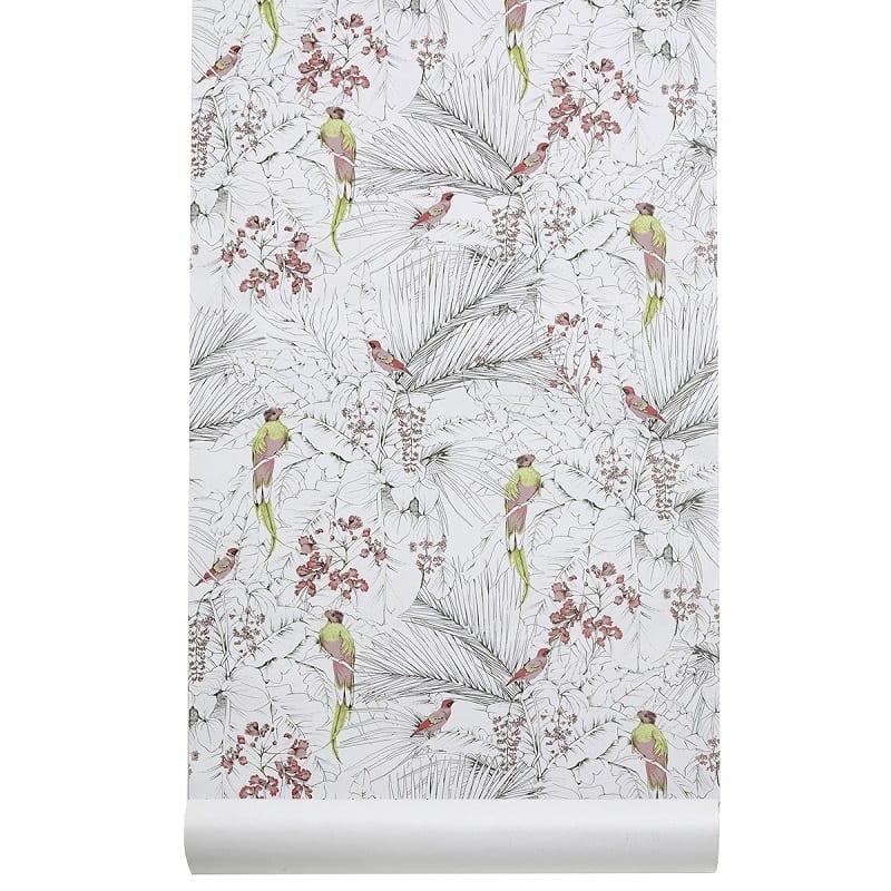 Papier peint Côme Jungle fond blanc - Les Gambettes