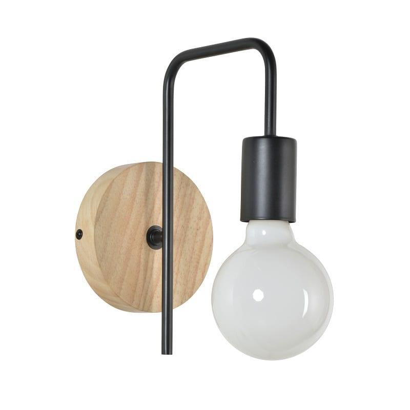 Applique en bois clair et métal noir - 47417 - 91682