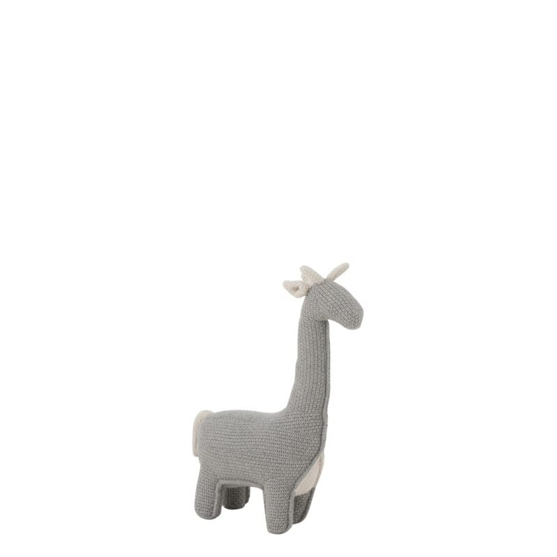 Peluche mini Girafe taille s en coton, lin et polyester grise - 48018 - 93476