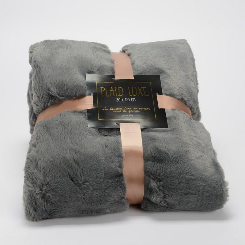 Plaid luxe anthracite 130 x 170 cm - 49663 - 144214